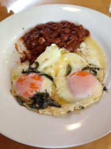 Nikau eggs beans and chorizo