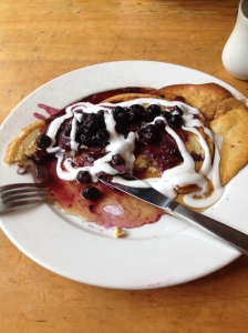 refuel pancakes with maple syrup and coconut cream